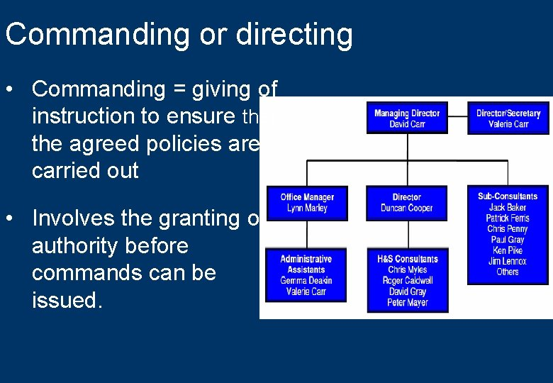Commanding or directing • Commanding = giving of instruction to ensure that the agreed