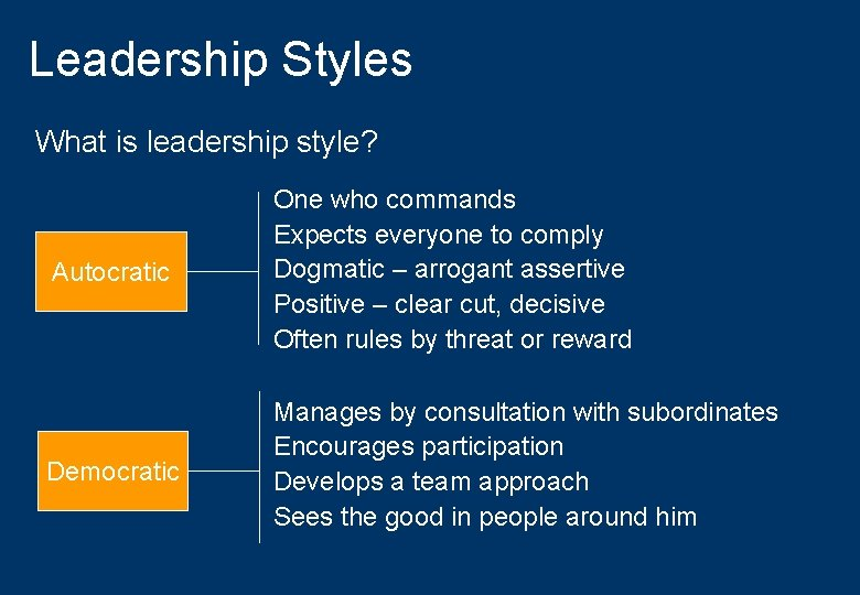 Leadership Styles What is leadership style? Autocratic One who commands Expects everyone to comply