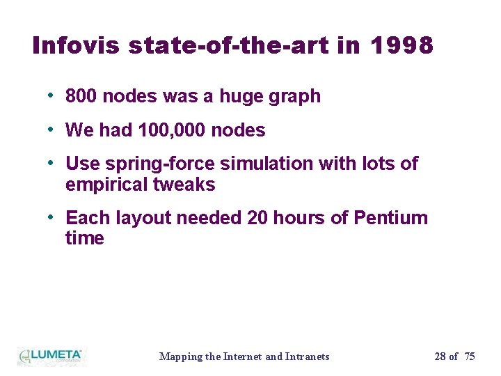 Infovis state-of-the-art in 1998 • 800 nodes was a huge graph • We had