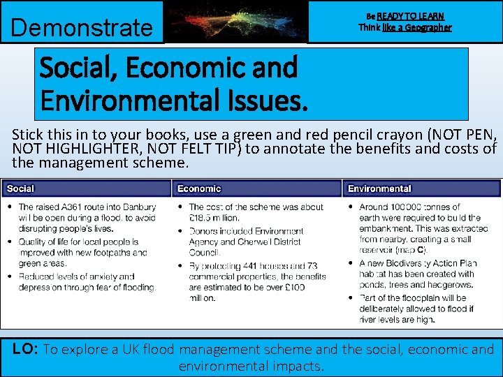 Demonstrate Be READY TO LEARN Think like a Geographer Social, Economic and Environmental Issues.