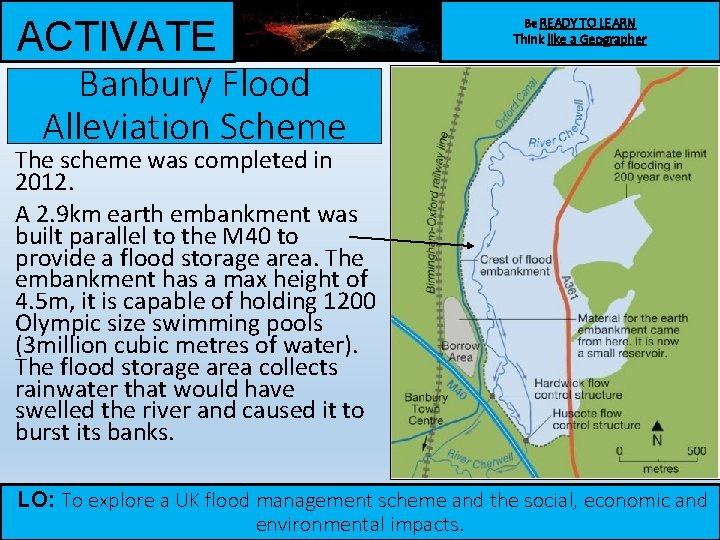 ACTIVATE Banbury Flood Alleviation Scheme Be READY TO LEARN Think like a Geographer The