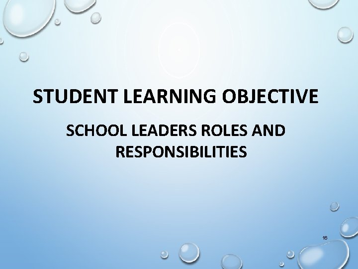 STUDENT LEARNING OBJECTIVE SCHOOL LEADERS ROLES AND RESPONSIBILITIES 16