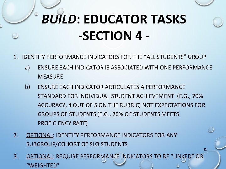 """BUILD: EDUCATOR TASKS -SECTION 4 1. IDENTIFY PERFORMANCE INDICATORS FOR THE """"ALL STUDENTS"""" GROUP"""