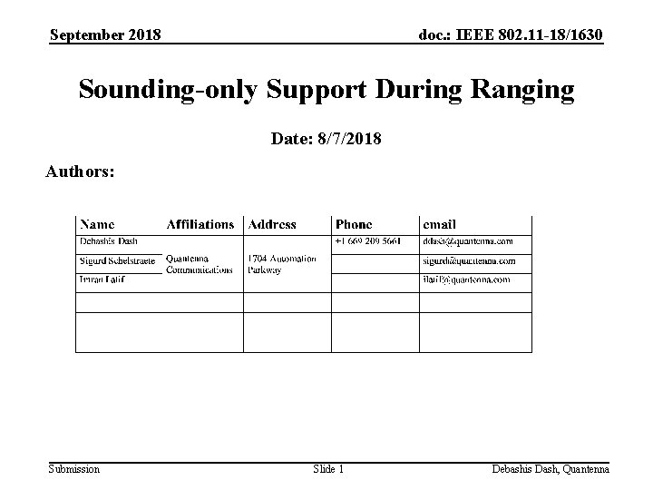 September 2018 doc. : IEEE 802. 11 -18/1630 Sounding-only Support During Ranging Date: 8/7/2018