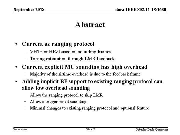 September 2018 doc. : IEEE 802. 11 -18/1630 Abstract • Current az ranging protocol