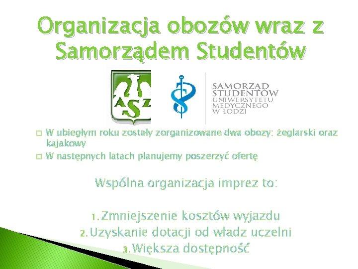 Organizacja obozów wraz z Samorządem Studentów � � W ubiegłym roku zostały zorganizowane dwa