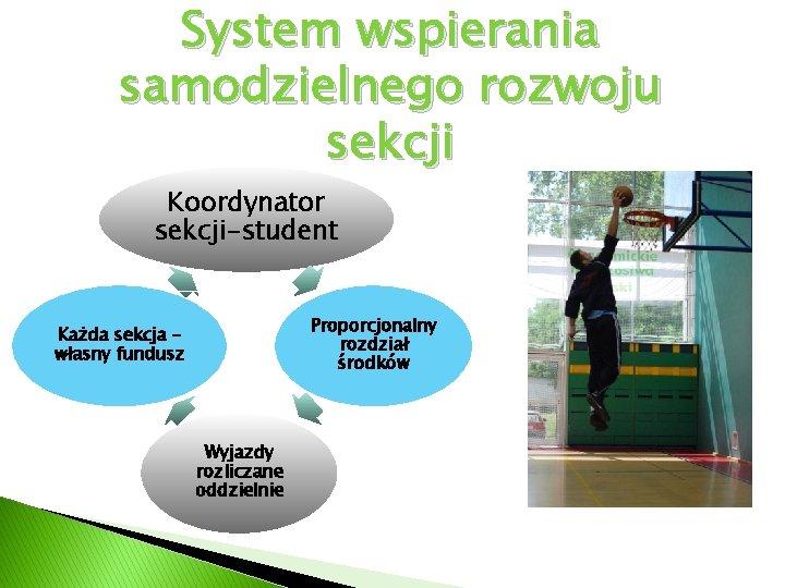 System wspierania samodzielnego rozwoju sekcji Koordynator sekcji-student Proporcjonalny rozdział środków Każda sekcja własny fundusz