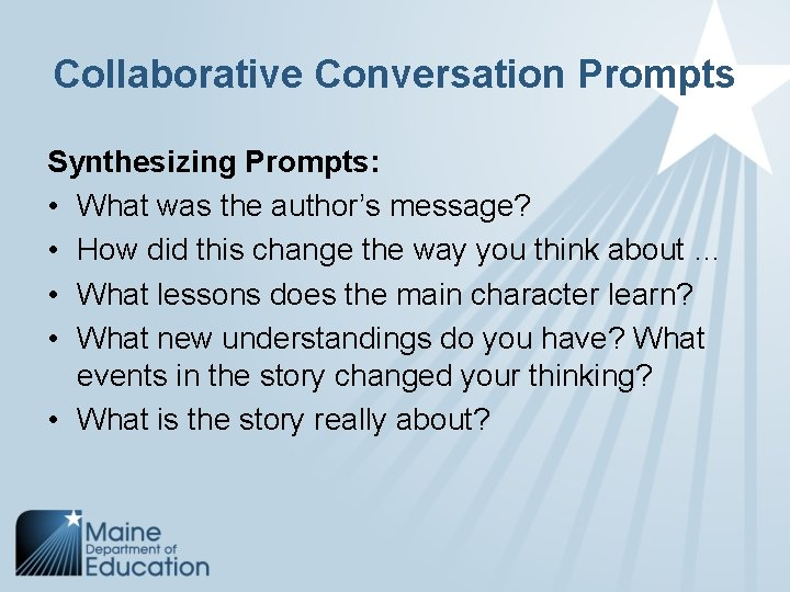 Collaborative Conversation Prompts Synthesizing Prompts: • What was the author's message? • How did
