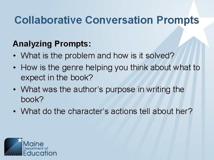 Collaborative Conversation Prompts Analyzing Prompts: • What is the problem and how is it