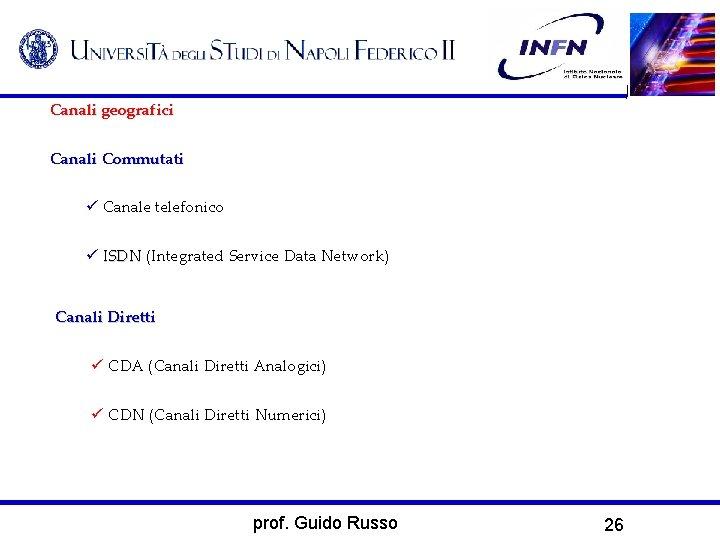 Canali geografici Canali Commutati Canale telefonico ISDN (Integrated Service Data Network) ISDN Canali Diretti