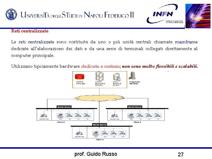 Reti centralizzate Le reti centralizzate sono costituite da uno o più unità centrali chiamate