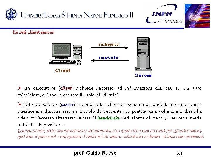 Le reti client server un calcolatore (client) client richiede l'accesso ad informazioni dislocati su