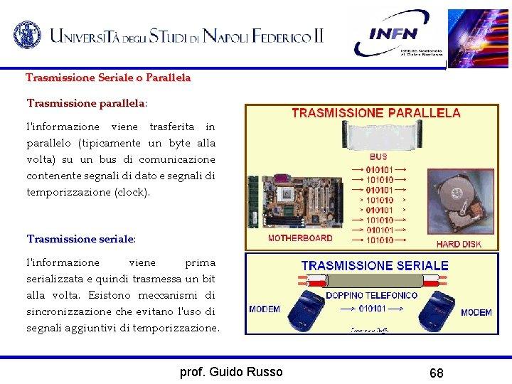 Trasmissione Seriale o Parallela Trasmissione parallela: parallela l'informazione viene trasferita in parallelo (tipicamente un