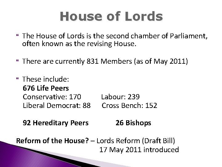 House of Lords The House of Lords is the second chamber of Parliament, often