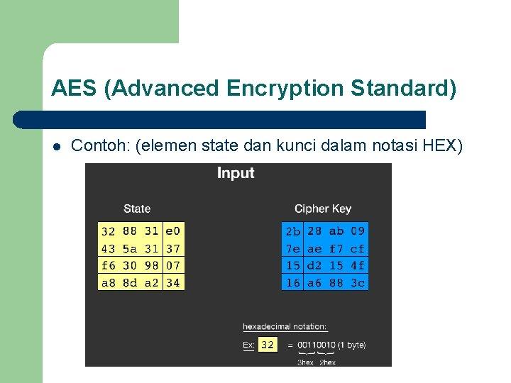 AES (Advanced Encryption Standard) l Contoh: (elemen state dan kunci dalam notasi HEX)