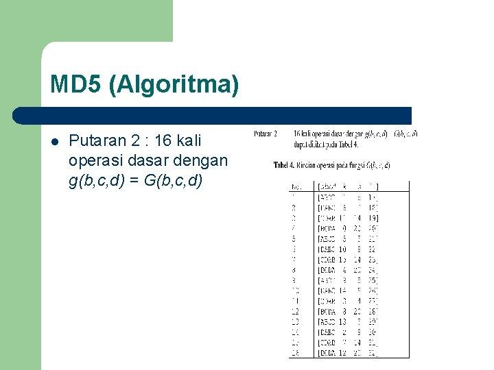 MD 5 (Algoritma) l Putaran 2 : 16 kali operasi dasar dengan g(b, c,