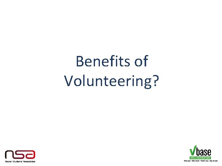 Benefits of Volunteering?