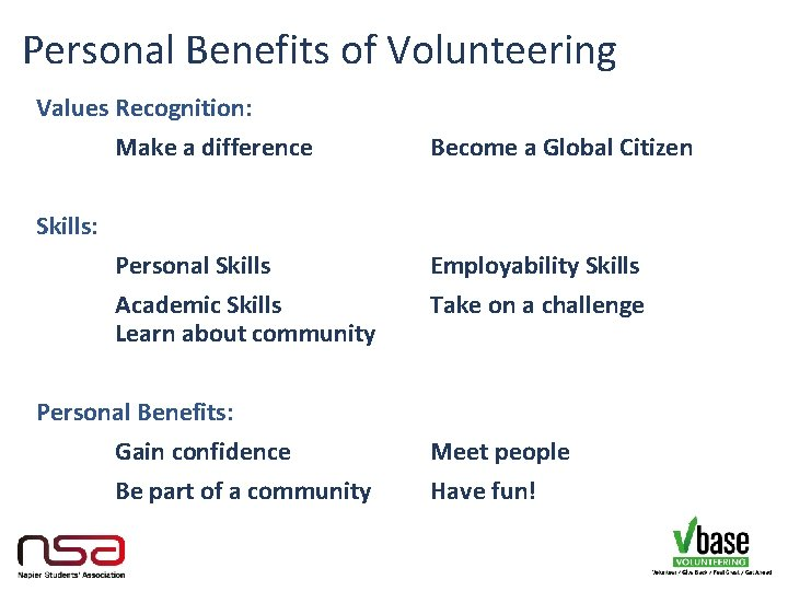 Personal Benefits of Volunteering Values Recognition: Make a difference Become a Global Citizen Skills: