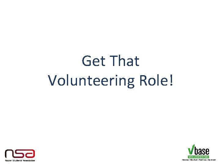 Get That Volunteering Role!