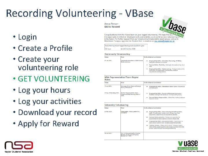 Recording Volunteering - VBase • Login • Create a Profile • Create your volunteering
