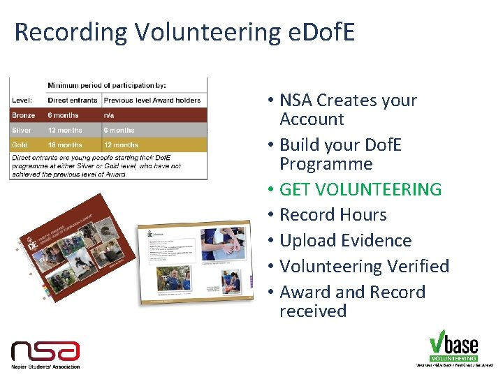 Recording Volunteering e. Dof. E • NSA Creates your Account • Build your Dof.