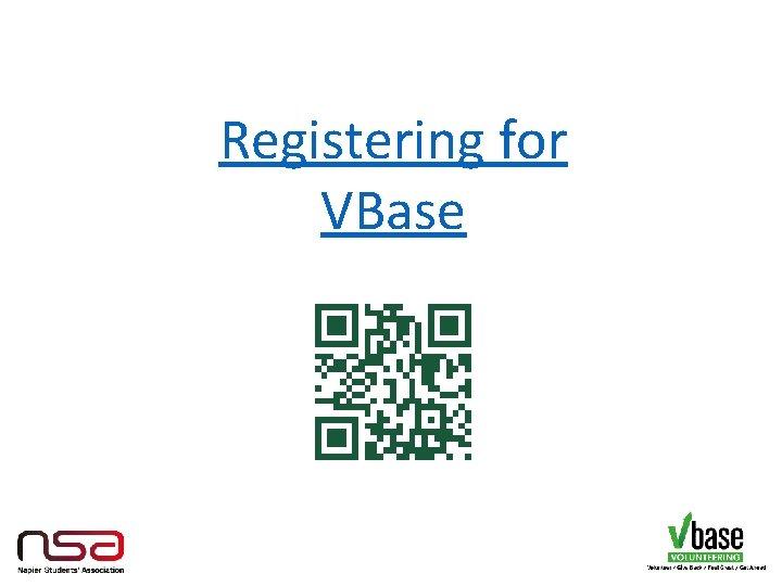 Registering for VBase