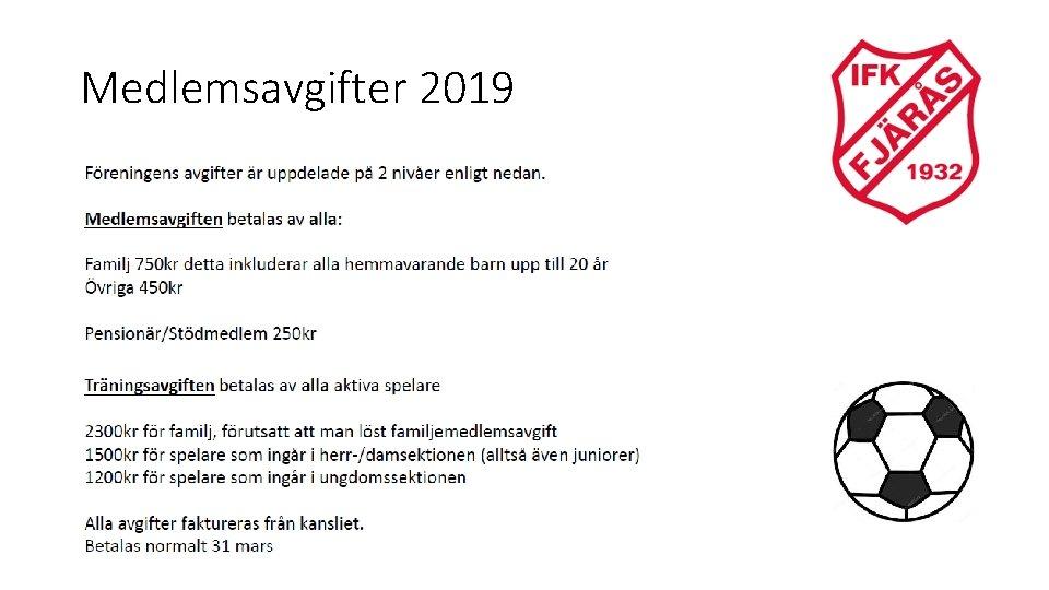 Medlemsavgifter 2019