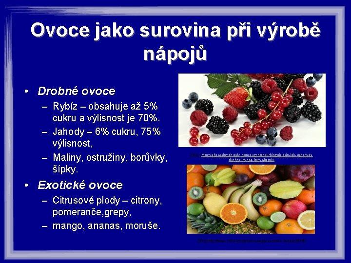 Ovoce jako surovina při výrobě nápojů • Drobné ovoce – Rybíz – obsahuje až