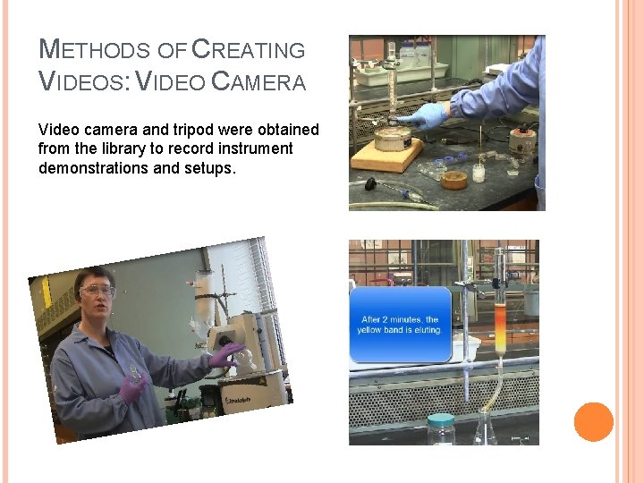 METHODS OF CREATING VIDEOS: VIDEO CAMERA Video camera and tripod were obtained from the