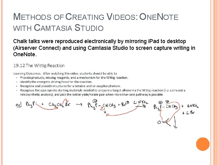 METHODS OF CREATING VIDEOS: ONENOTE WITH CAMTASIA STUDIO Chalk talks were reproduced electronically by