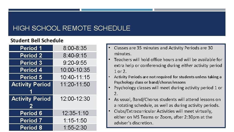 HIGH SCHOOL REMOTE SCHEDULE Student Bell Schedule Period 1 8: 00 -8: 35 Period