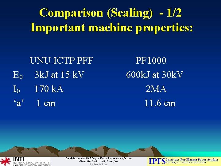 Comparison (Scaling) - 1/2 Important machine properties: UNU ICTP PFF PF 1000 E 0