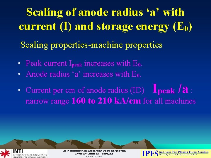 Scaling of anode radius 'a' with current (I) and storage energy (E 0) Scaling