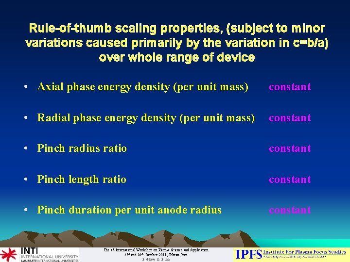 Rule-of-thumb scaling properties, (subject to minor variations caused primarily by the variation in c=b/a)