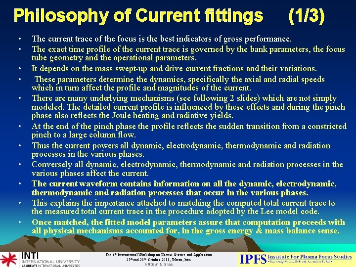 Philosophy of Current fittings • • • (1/3) The current trace of the focus