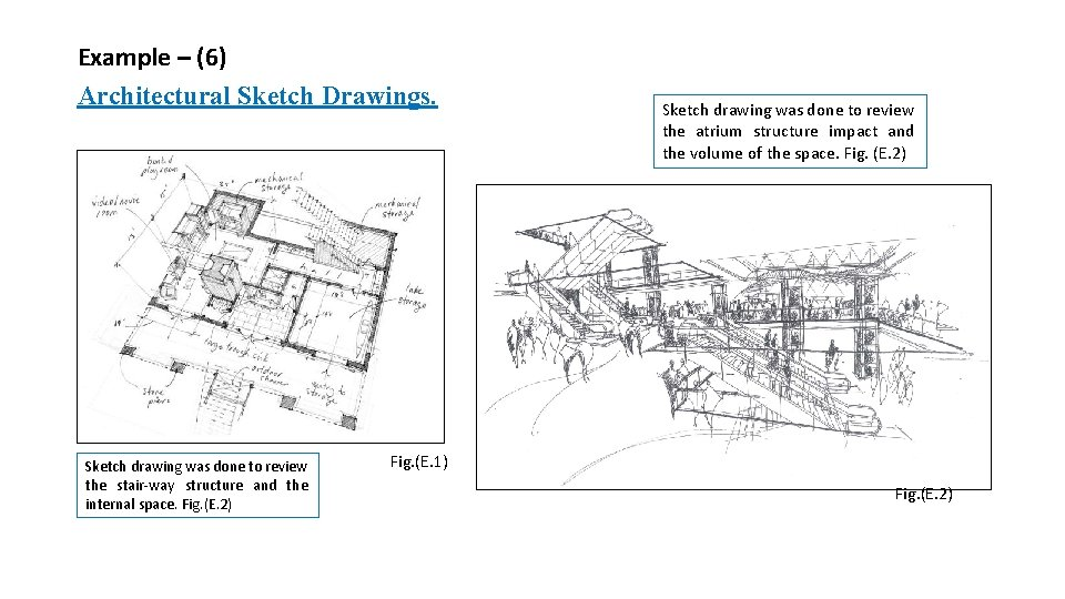 Example – (6) Architectural Sketch Drawings. Sketch drawing was done to review the stair-way