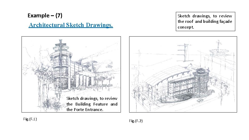 Example – (7) Sketch drawings, to review the roof and building façade concept. Architectural