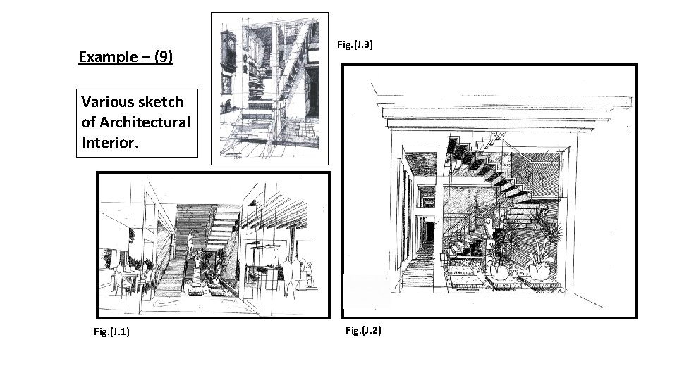 Example – (9) Fig. (J. 3) Various sketch of Architectural Interior. Fig. (J. 1)