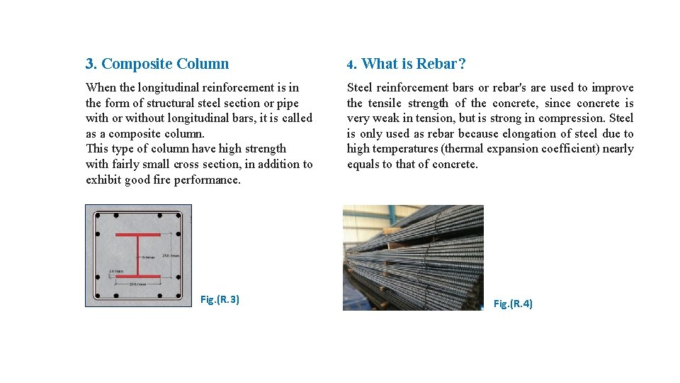 3. Composite Column 4. When the longitudinal reinforcement is in the form of structural
