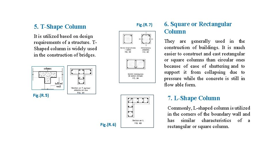 Fig. (R. 7) 5. T-Shape Column It is utilized based on design requirements of