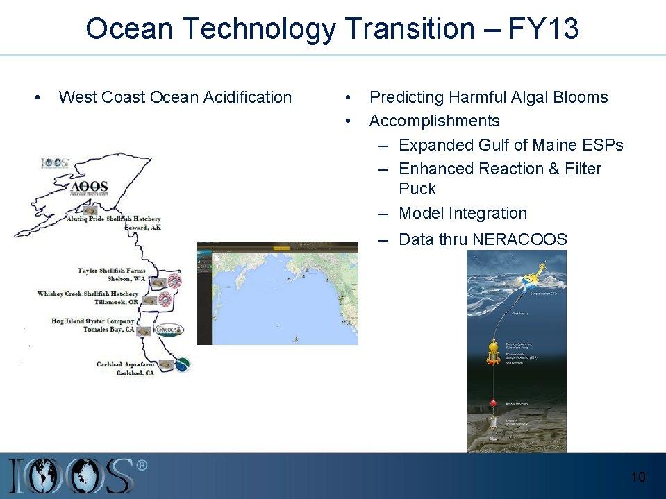 Ocean Technology Transition – FY 13 • West Coast Ocean Acidification • • Predicting