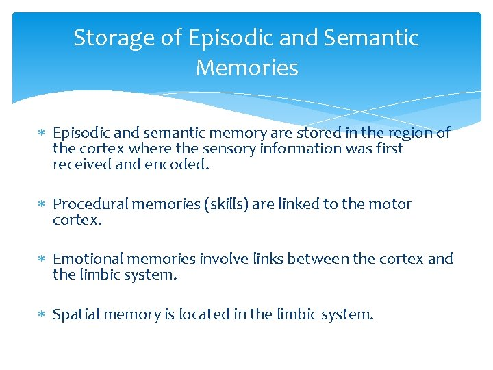 Storage of Episodic and Semantic Memories Episodic and semantic memory are stored in the