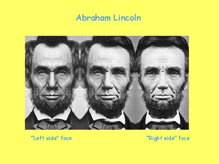"""Abraham Lincoln """"Left side"""" face """"Right side"""" face"""