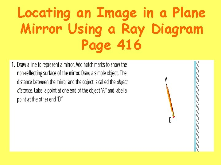 Locating an Image in a Plane Mirror Using a Ray Diagram Page 416