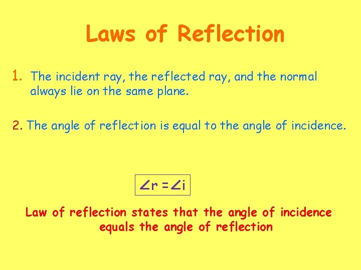 Laws of Reflection 1. The incident ray, the reflected ray, and the normal always