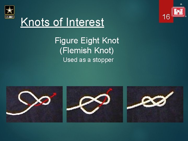 16 Knots of Interest Figure Eight Knot (Flemish Knot) Used as a stopper 16