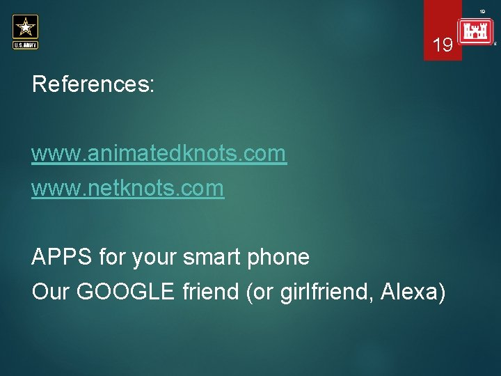 19 19 References: www. animatedknots. com www. netknots. com APPS for your smart phone