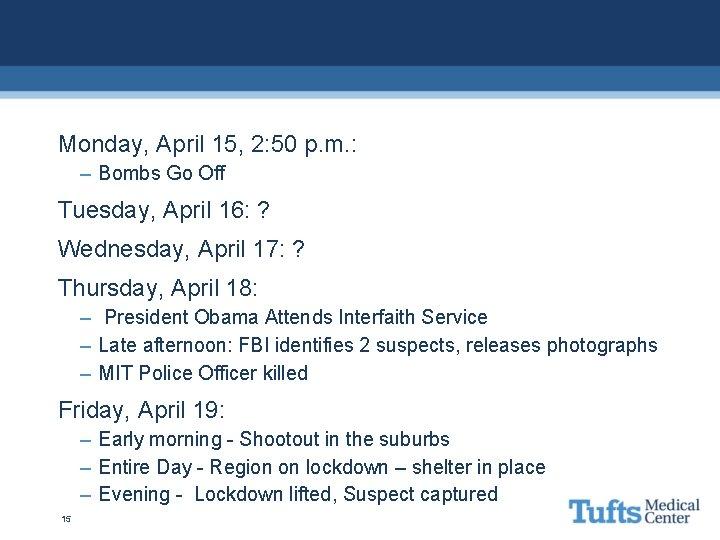Monday, April 15, 2: 50 p. m. : – Bombs Go Off Tuesday, April