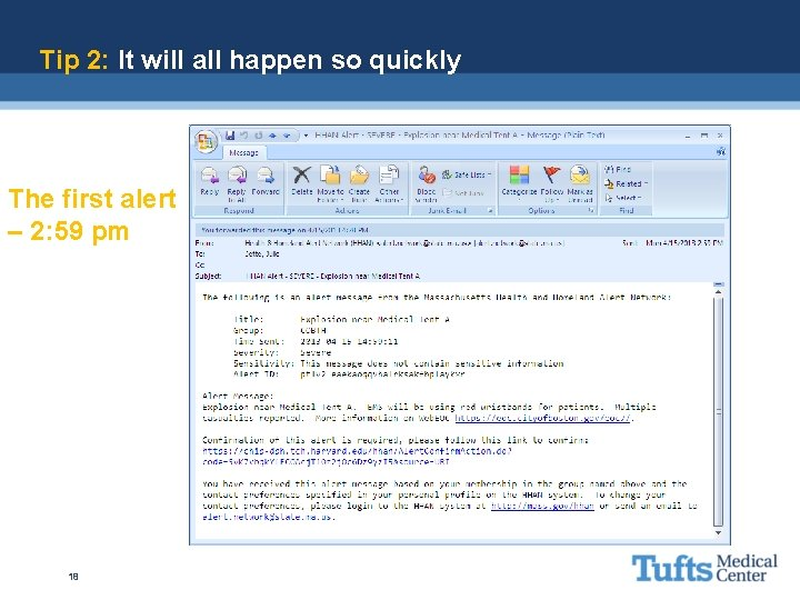 Tip 2: It will all happen so quickly The first alert – 2: 59