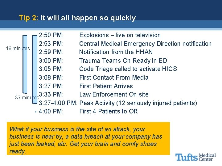 Tip 2: It will all happen so quickly 2: 50 PM: Explosions – live